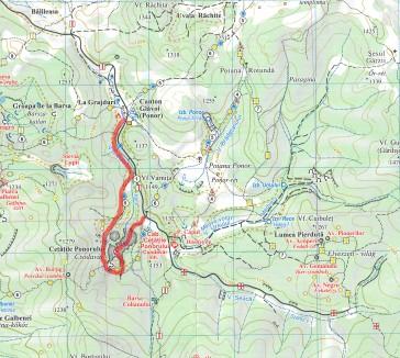 hartă traseu parcurs de noi, din Glăvoi