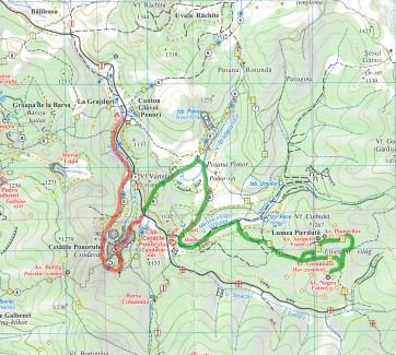 hartă traseu parcurs de noi, din Poiana Ponor