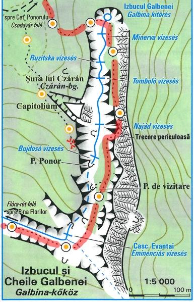 Hartă detaliu Cheile Galbenei