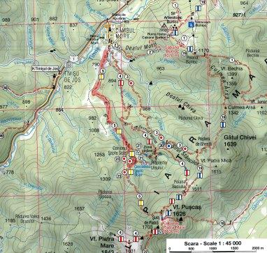 harta traseu Canionul 7 Scari
