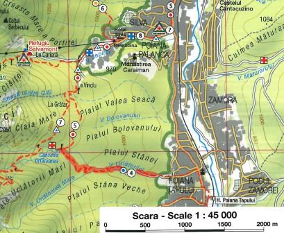 harta traseu Cascada Urlatoarea