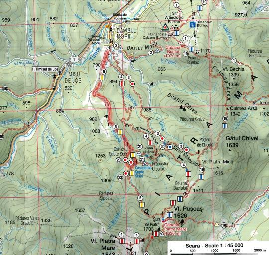 harta traseu canionul Sapte Scari